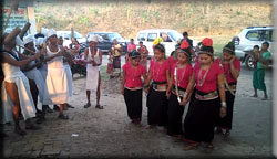 Cultural performance by Mro people to welcome the PKSF Chairman